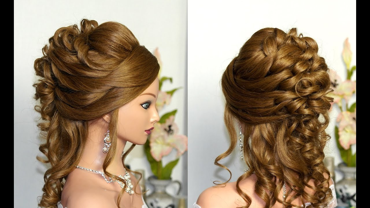 New Curly Wedding Prom Hairstyle For Long Hair Youtube Ideas With Pictures
