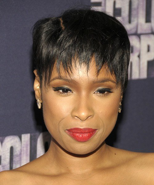 New Jennifer Hudson Short Straight Casual Pixie Hairstyle Ideas With Pictures