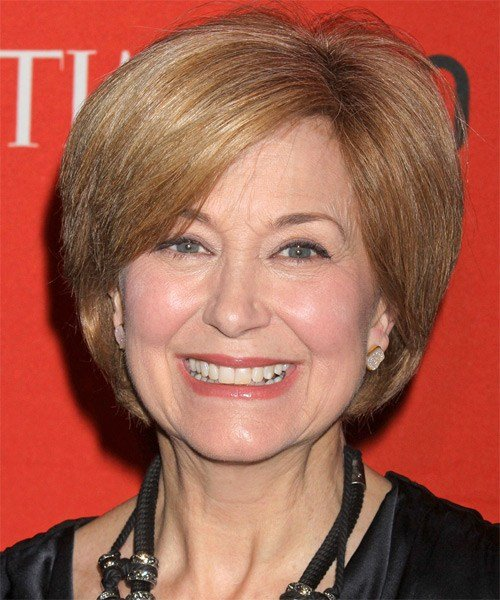 New Jane Pauley Short Straight Formal Layered Bob Hairstyle With Side Swept Bangs Golden Blonde Ideas With Pictures