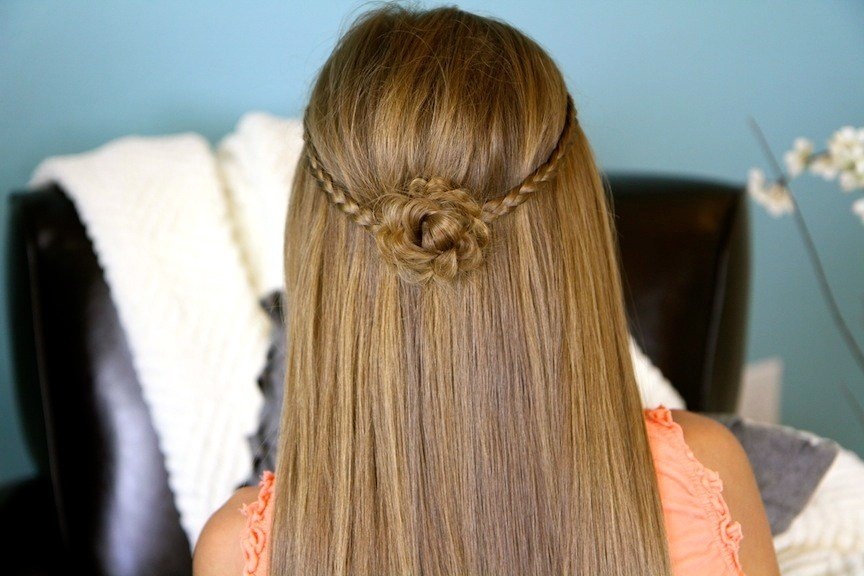 New Braided Flower Tieback Hairstyles For Long Hair Cute Ideas With Pictures