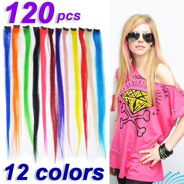 New Buy 120 X 24 Straight Colored Colorful Clip On In Hair Ideas With Pictures