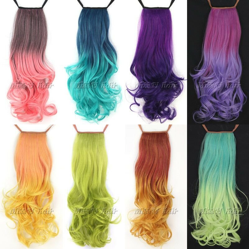 New 18 45Cm Long Curly Clip In Ribbon Ponytail Hair Ideas With Pictures