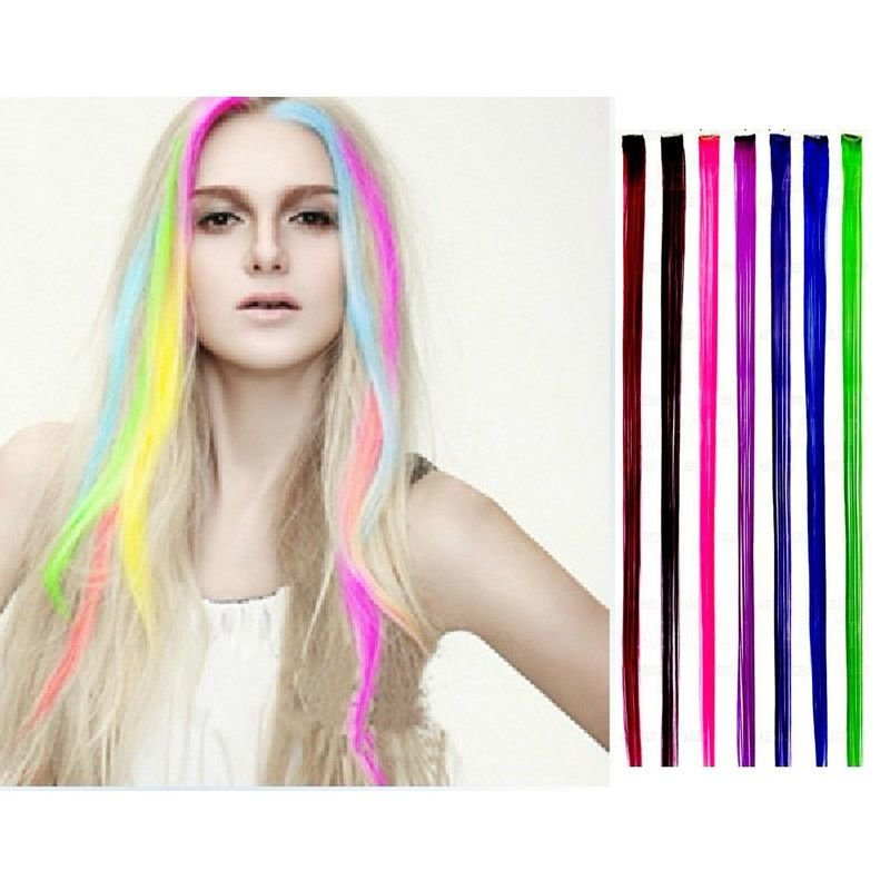 New 15 Colored Colorful Clip On In Hair Extension Fake Ideas With Pictures