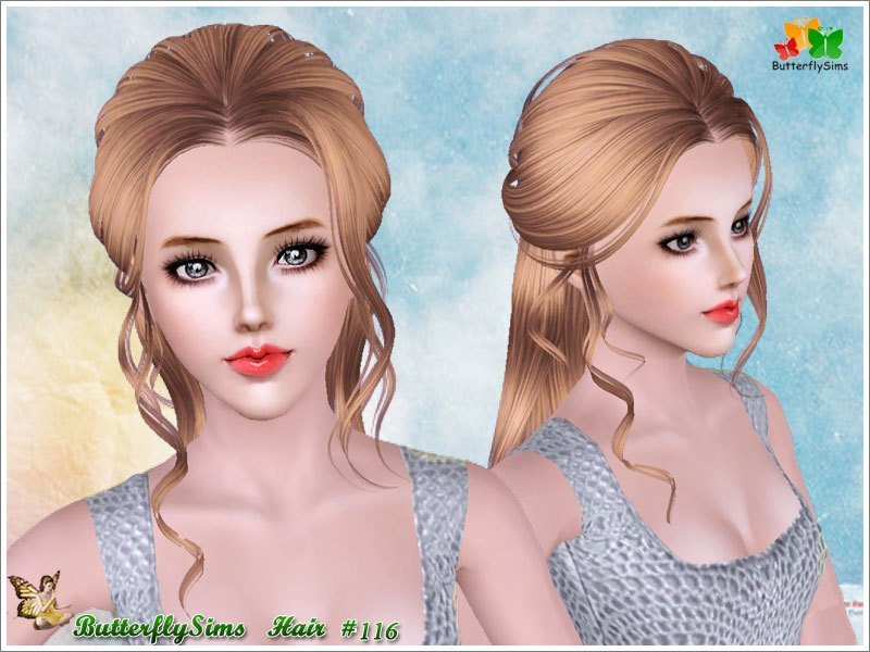 New Half Up With Curly Stripes Hairstyle By Butterfly Sims Sims 3 Hairs Ideas With Pictures