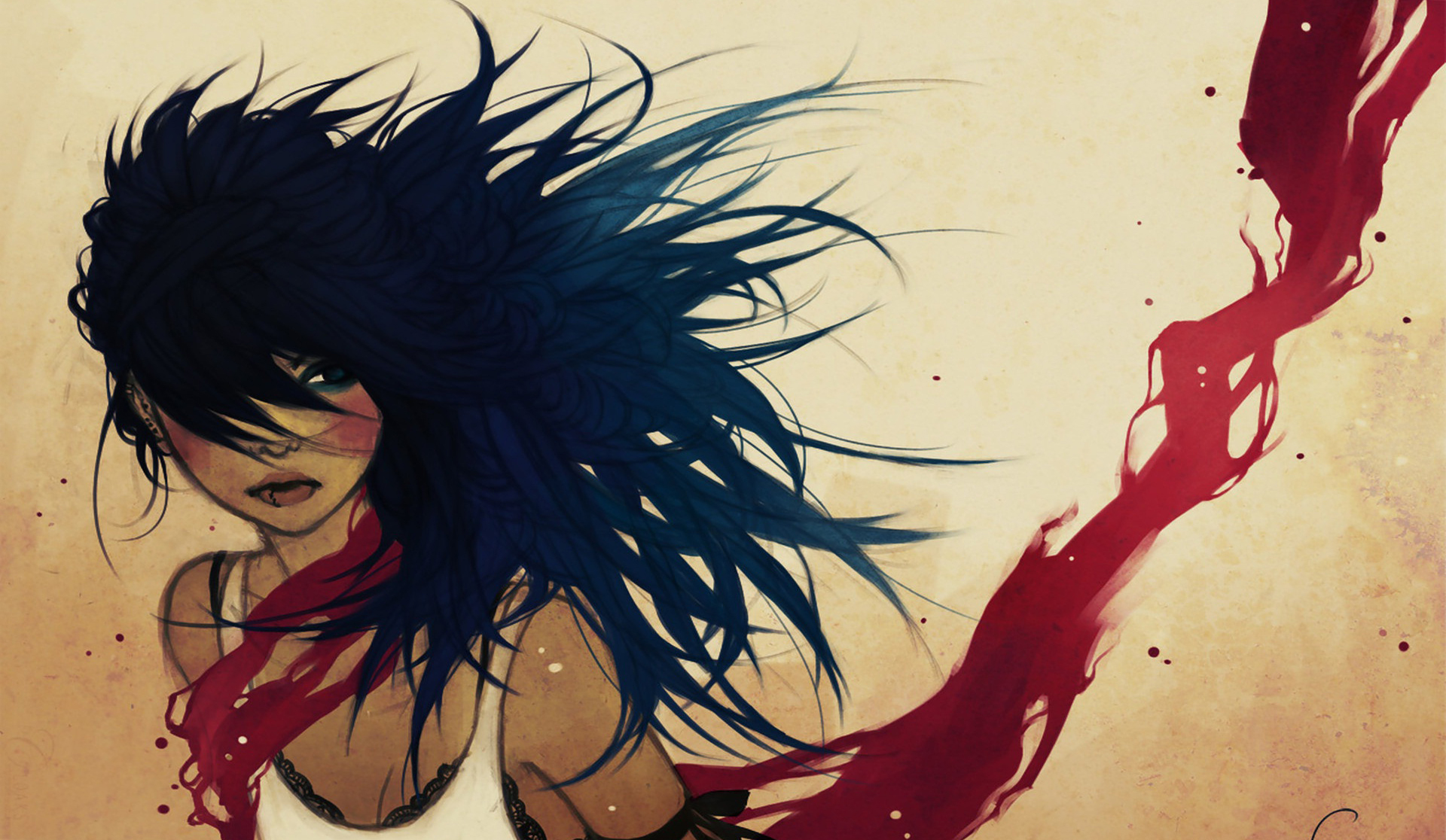 Vector Girl Wallpaper Hd Cool Women Blue Hair And Blood Illustrations Piercings