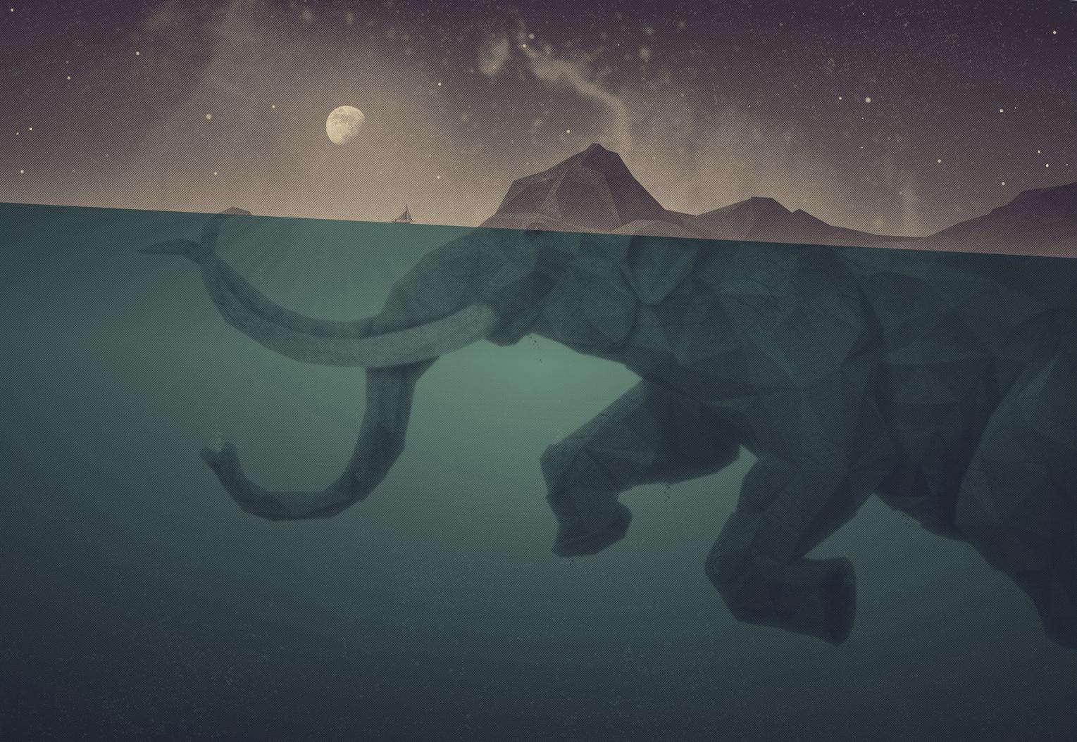 Indian Girl Wallpapers For Desktop Sketch Ocean Two Colors Rock Moon Artwork Elephants Surreal Art
