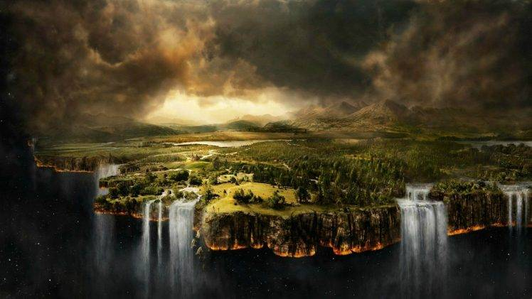 Dream About Wallpaper Falling Off Digital Art Nature Landscape Waterfall Space Forest