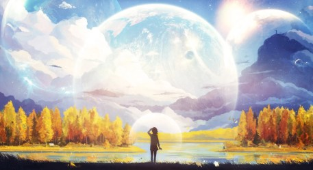 anime nature fantasy artwork moon forest mountain wallpapers hd desktop backgrounds mobile