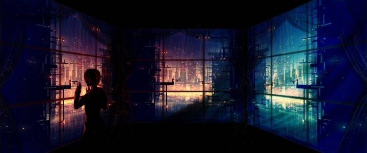 1920x800 Fall Wallpaper Artwork Fantasy Art Anime Futuristic City Window