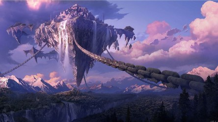 floating fantasy island anime landscape mountain waterfall tera forest chains digital castle hd wallpapers desktop space backgrounds pink cities