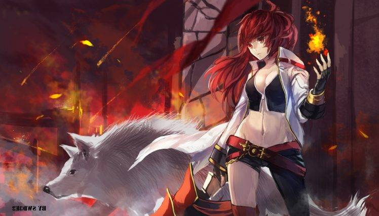 Anime Wallpaper Goddess Girl With Black And White Hair Anime Anime Girls Swd3e2 Redhead Wolf Elesis Elsword