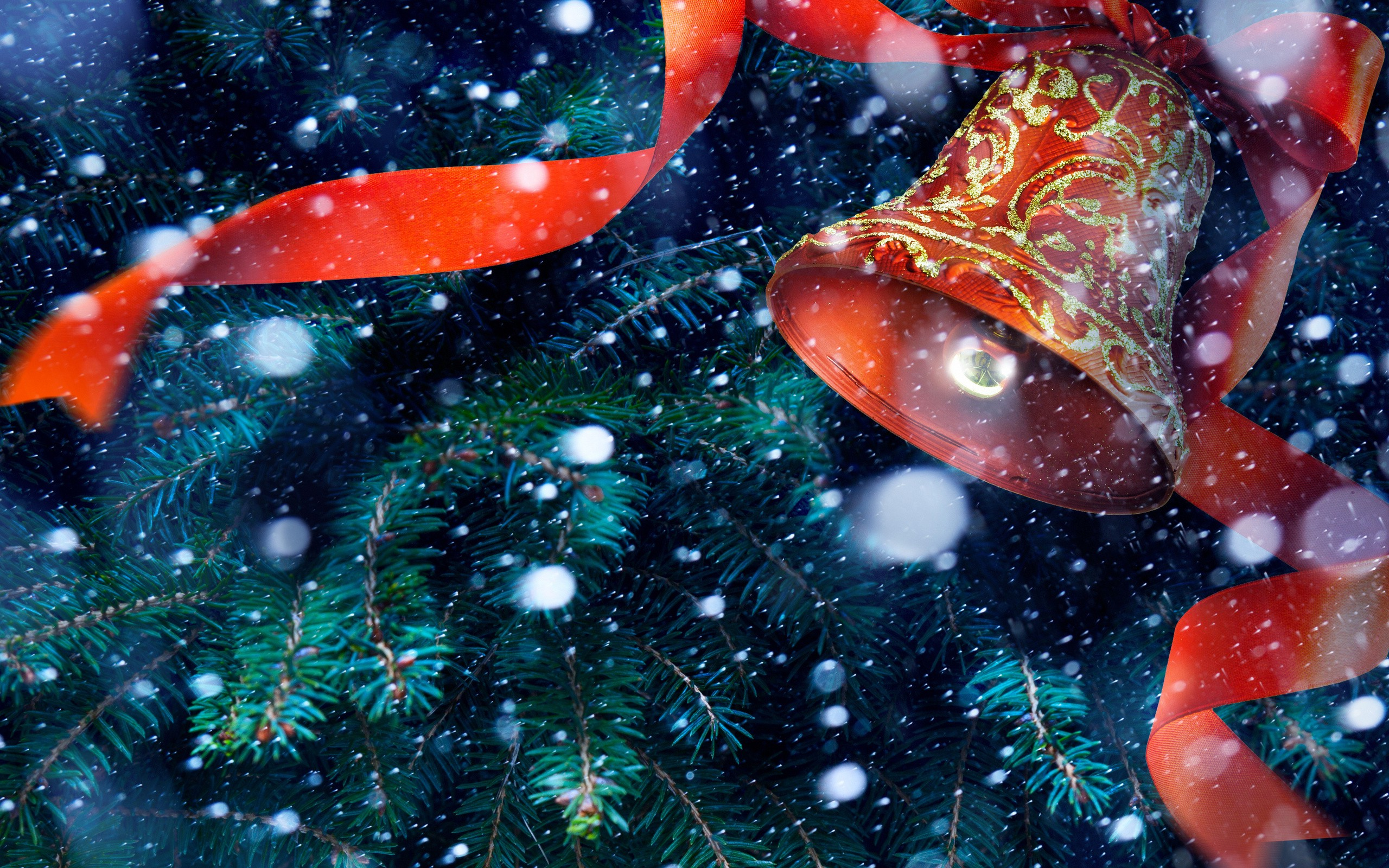 Fall In Love Mobile Wallpaper New Year Bell Ribbon Christmas Tree Snow Wallpapers Hd