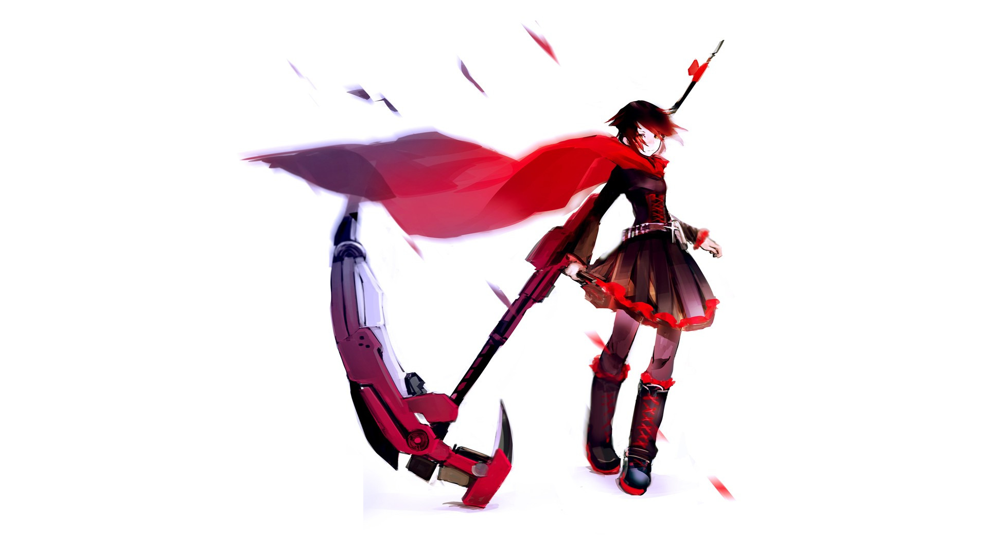 Red, RWBY, Anime, Ruby Rose, White, Dress Wallpapers HD