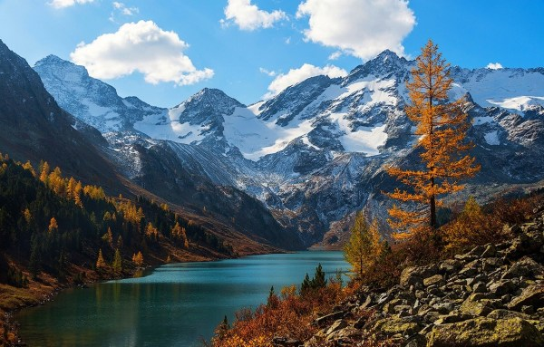 Nature Mountain Lake Snow Fall Altai Mountains Snowy Peak Landscape Forest Russia