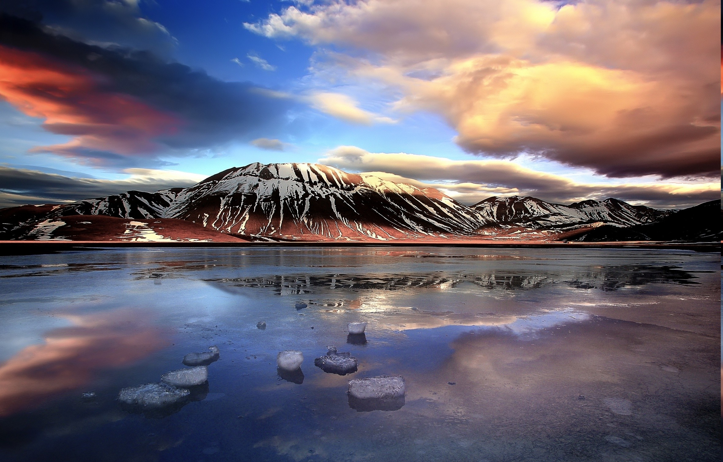 Full Hd Wallpapers Sunsets Italy Mountain Clouds Lake Winter Ice Sunset Snowy