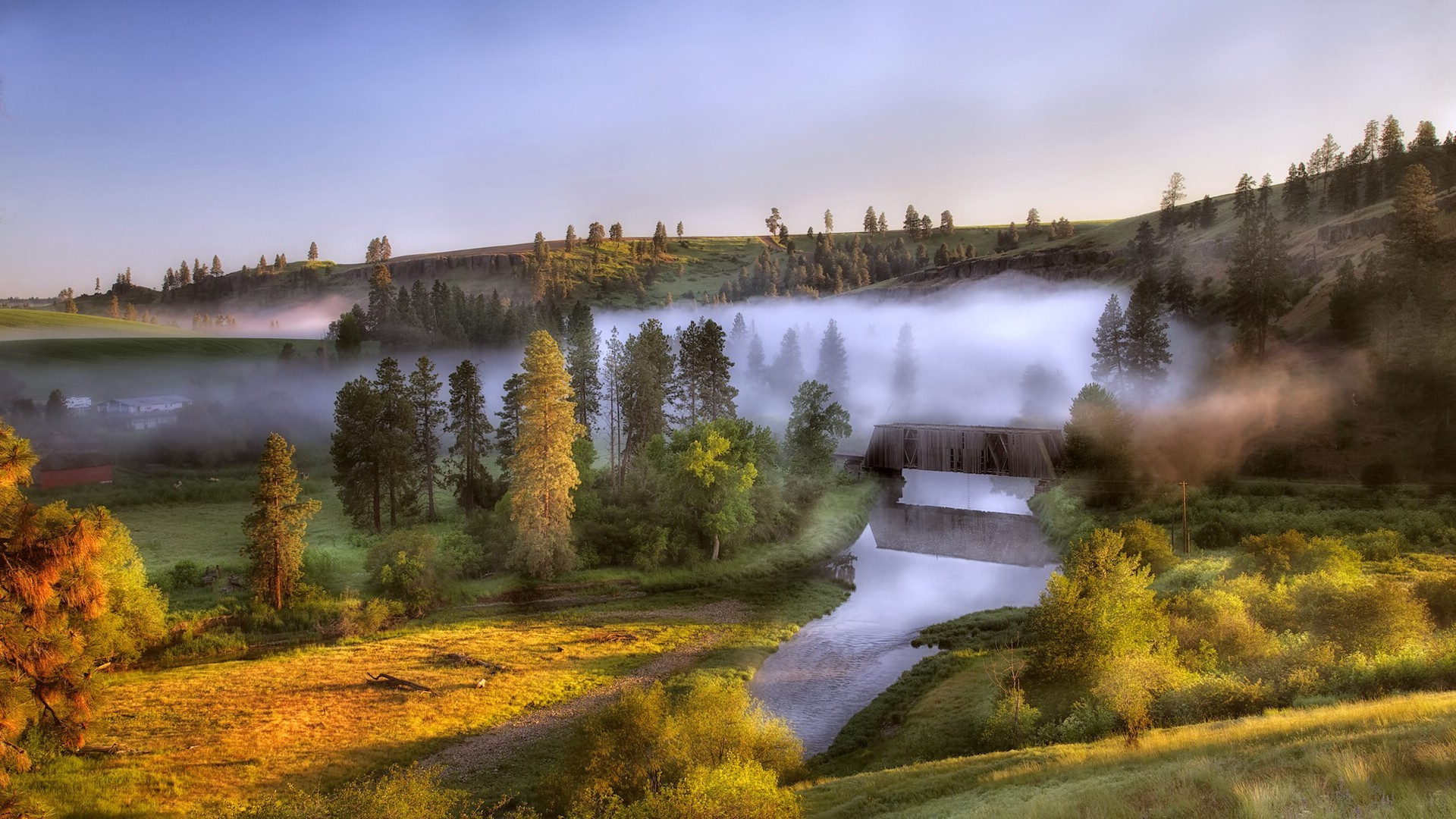Anime Fall 2015 Wallpaper Nature Landscape Trees Forest Mist Morning River