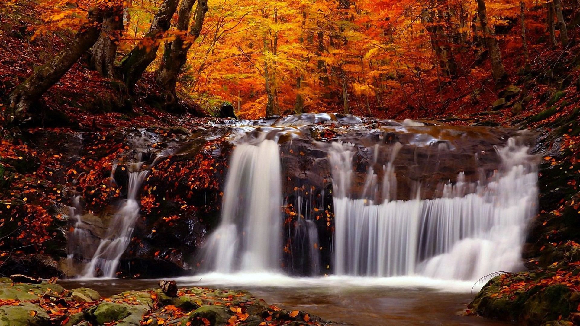 1366x768 Fall Wallpapers Nature Landscape Fall River Trees Waterfall