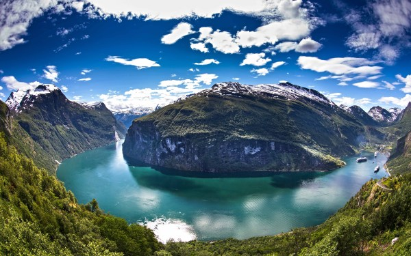 Panoramas Norway Geiranger Cruise Ship Mountain Forest Snowy Peak Clouds Water Green