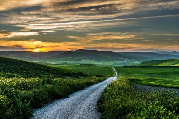 road sunset field italy clouds