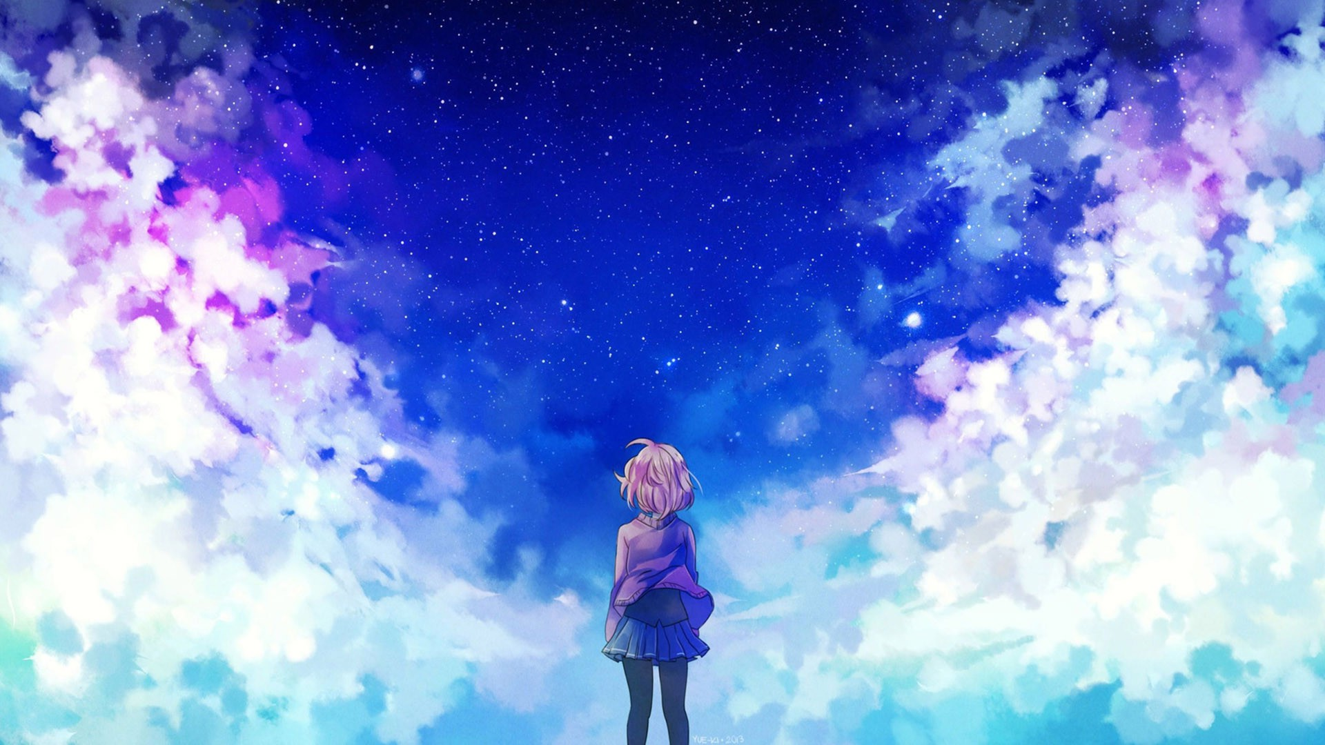 These desktop background (wallpaper) images contain the intellectual property of microsoft and other third parties. anime Girls, Clouds, Stars, Kyoukai No Kanata Wallpapers
