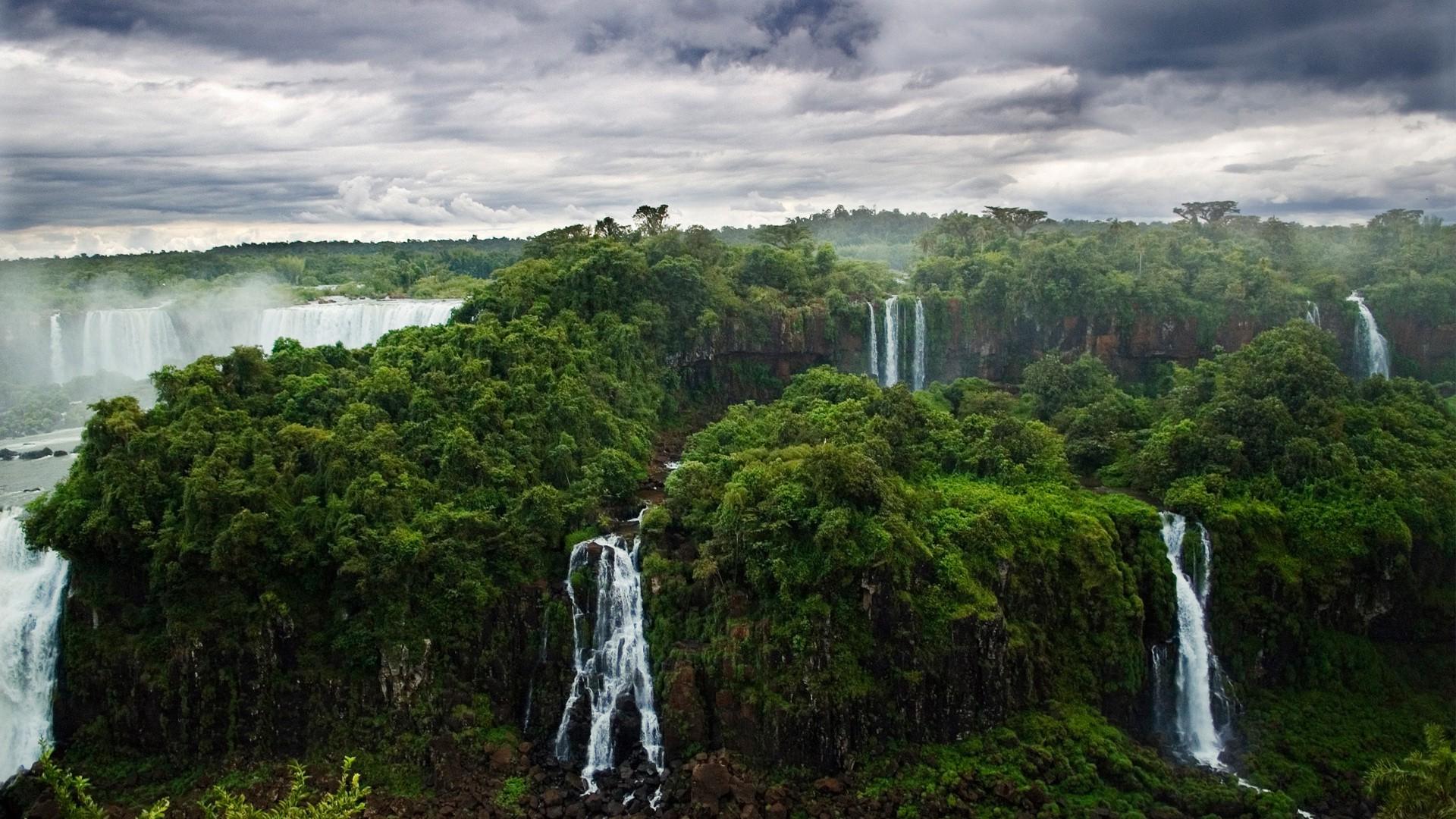 Iguazu Falls Brazil Wallpaper Nature Landscape Waterfall Forest Tropical Forest