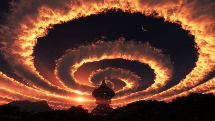 Crazy 3d Wallpapers Sky Landscape Clouds Spiral Fantasy Art Wallpapers Hd