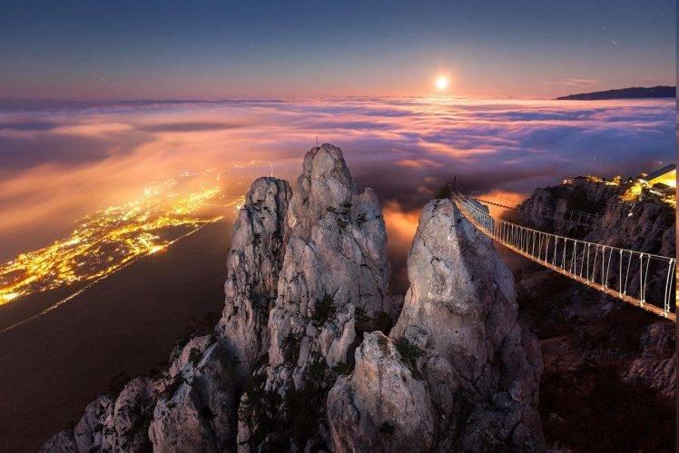 Fall Mountains In The Sun Wallpaper Moonlight Mountain Crimea Yalta Mist Night Cliff