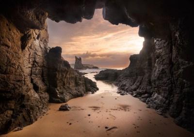 beach, Cave, Australia, Sand, Rock, Sea, Sunset, Clouds ...