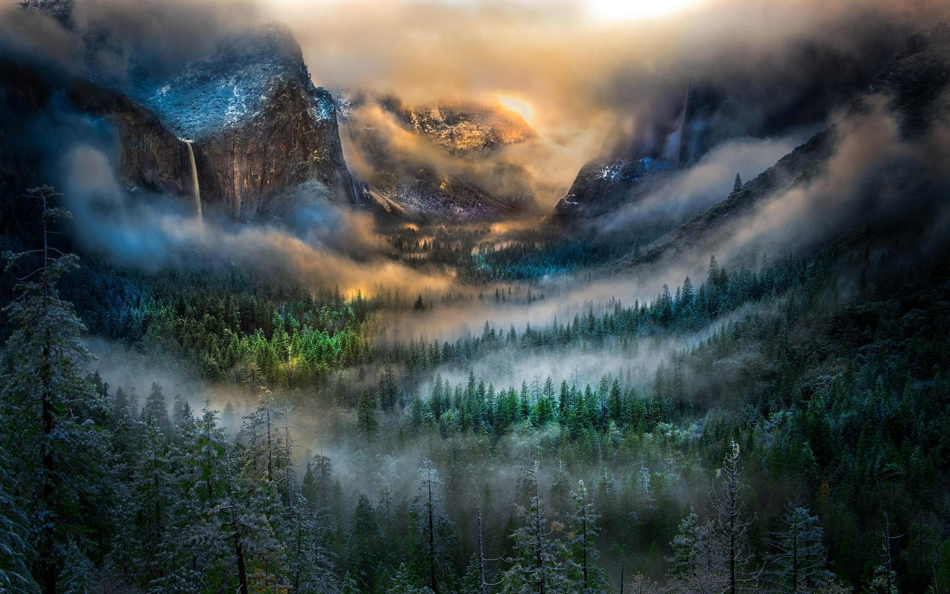 Water Fall Hd Wallpaper 4k Nature Landscape Mountain Mist Yosemite Valley Winter