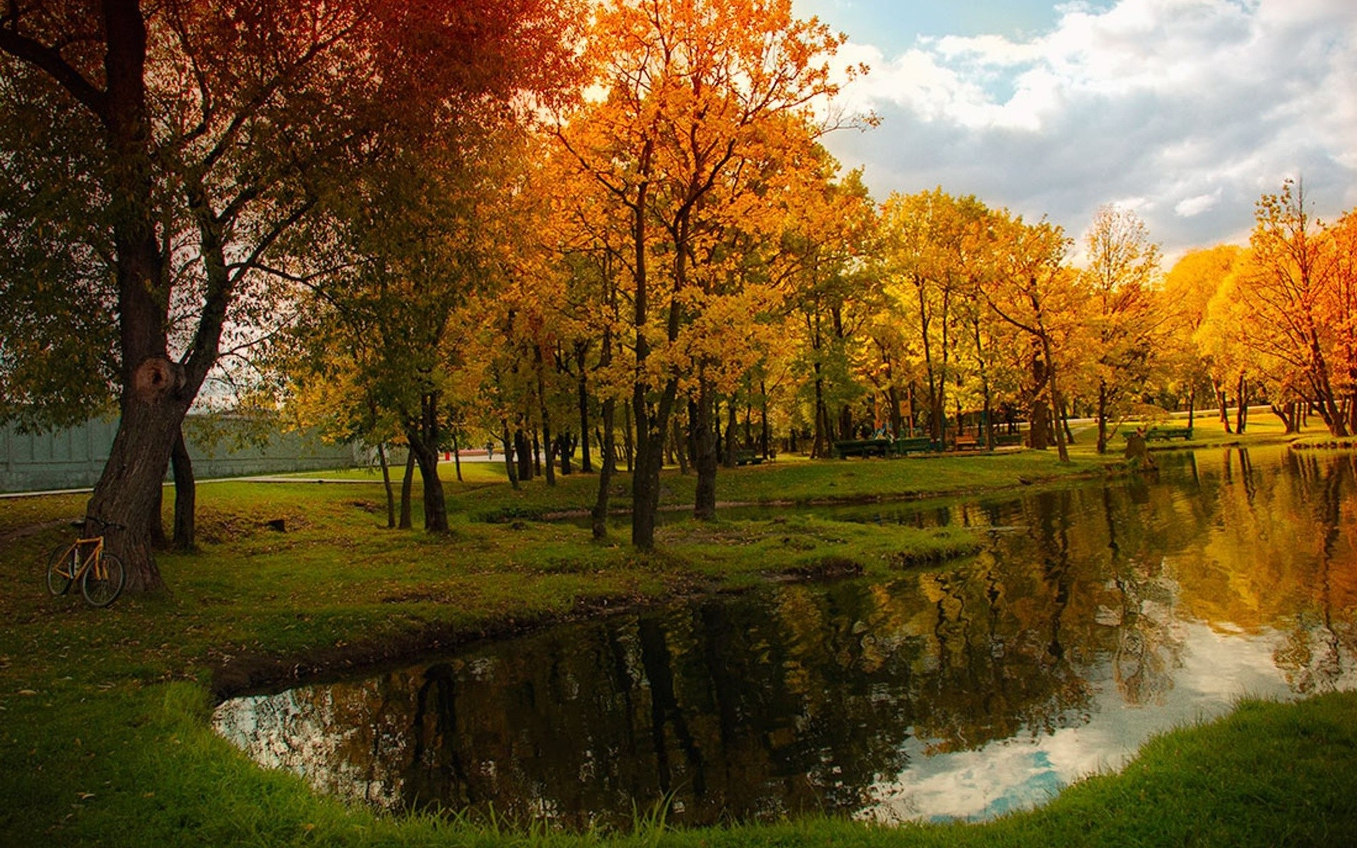 Fall Vintage Wallpaper Landscape Nature Pond Fall Bicycle Trees Reflection