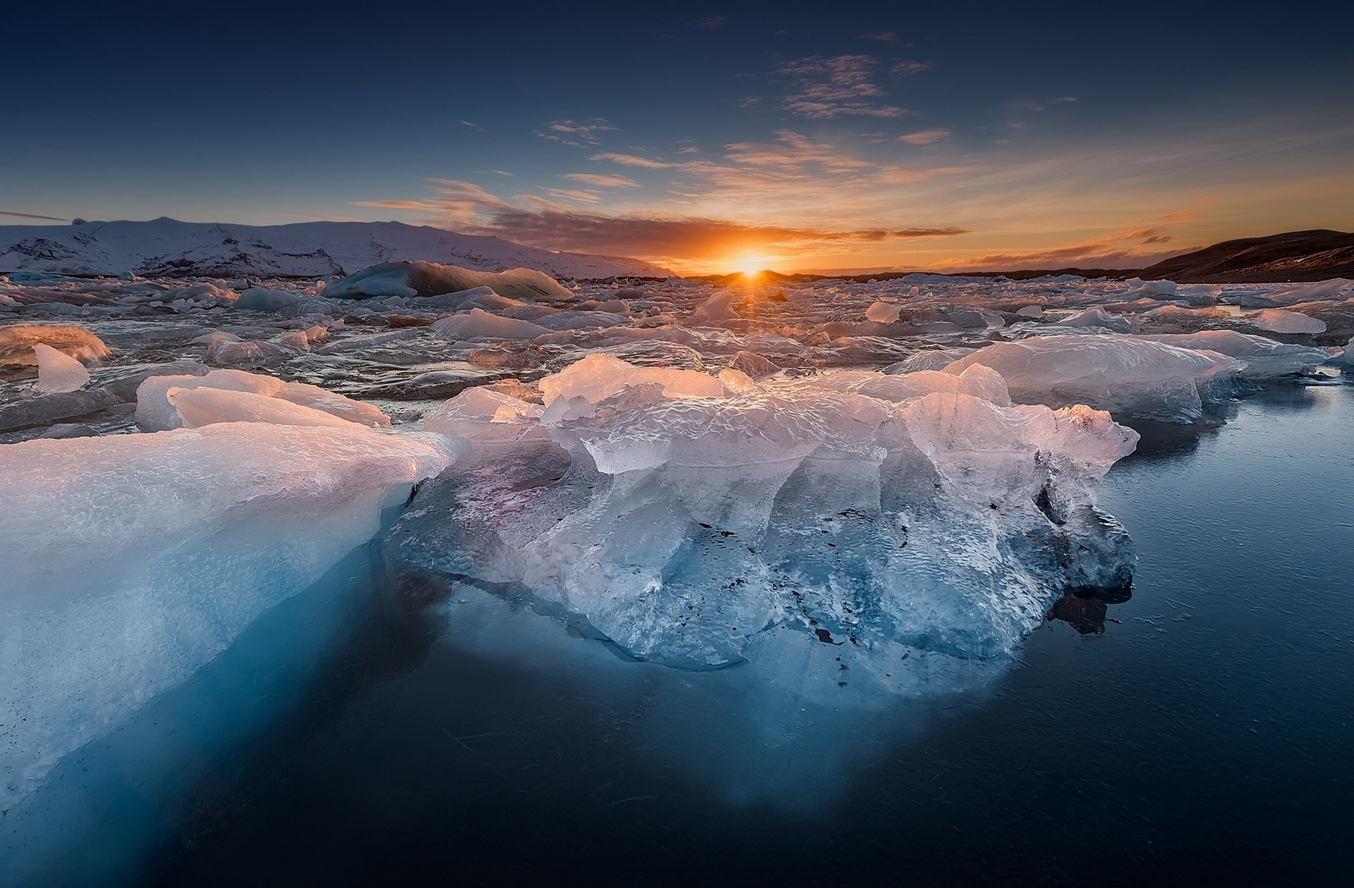 3d Christmas Wallpaper Backgrounds 2015 Nature Landscape Ice Cold Sunset Winter Frost Blue
