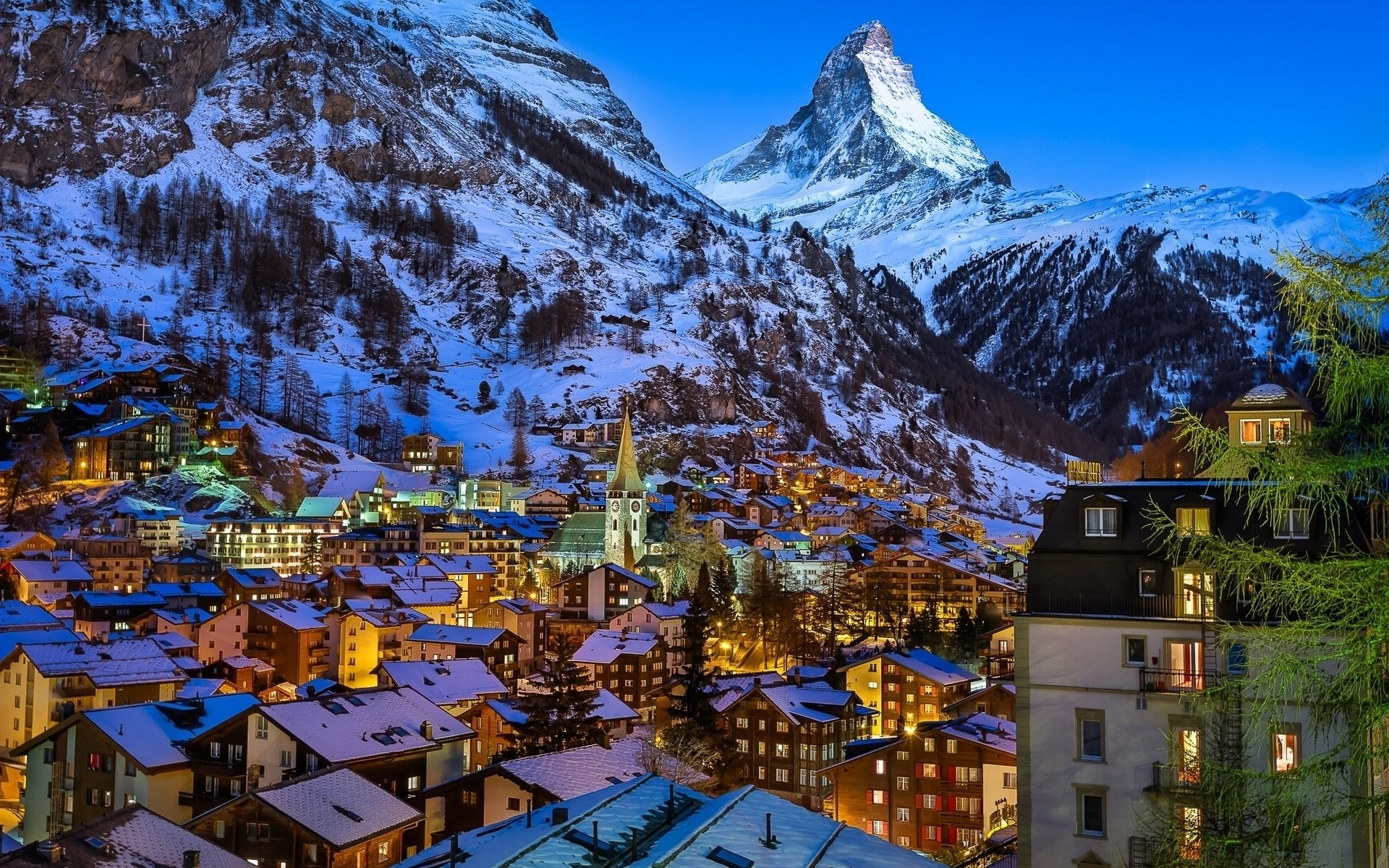 nature Landscape Evening Lights House Town Church Switzerland Matterhorn Snow Winter