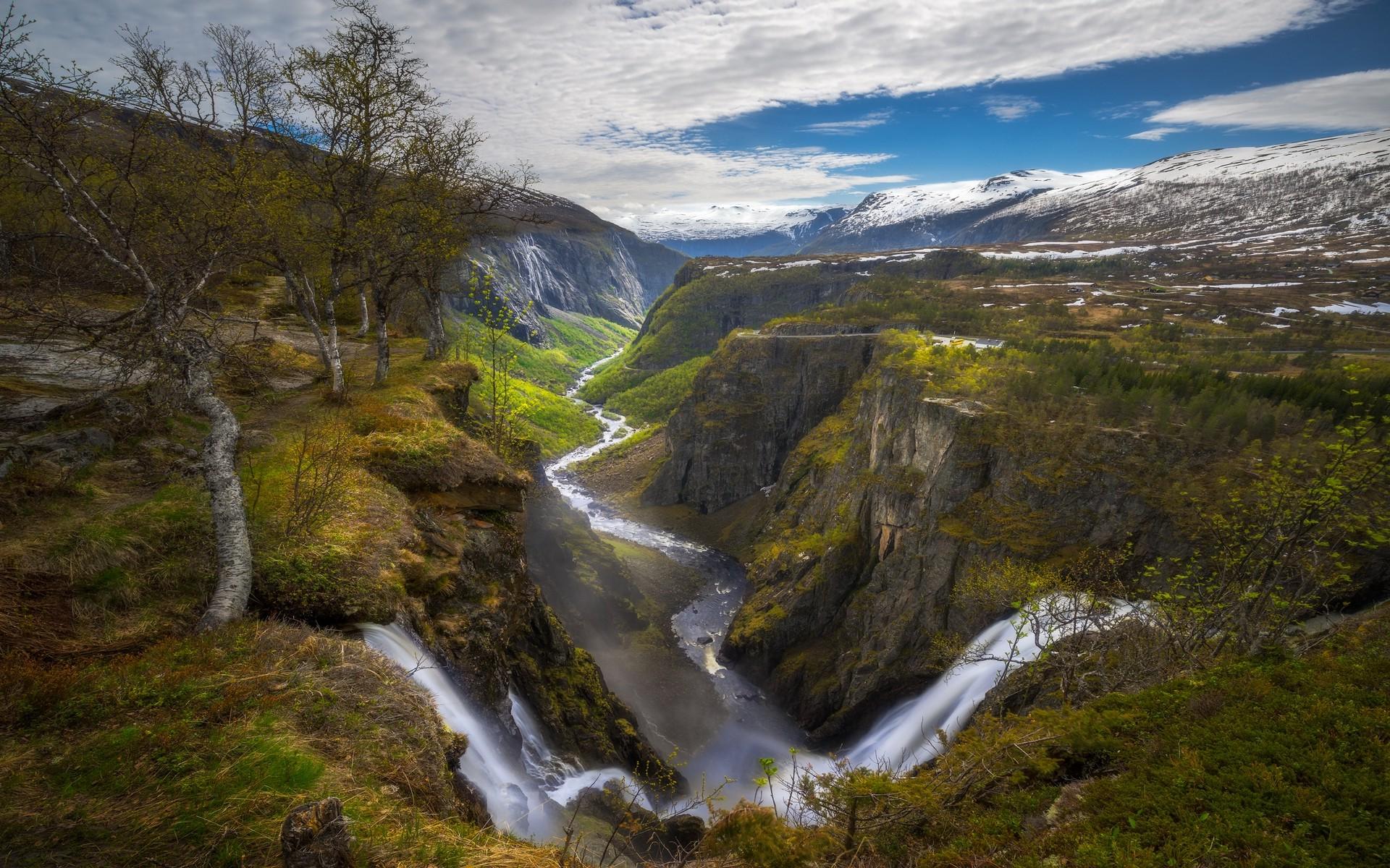 Fall Mountains Hd Desktop Wallpaper Nature Landscape Waterfall Canyon River Norway Trees