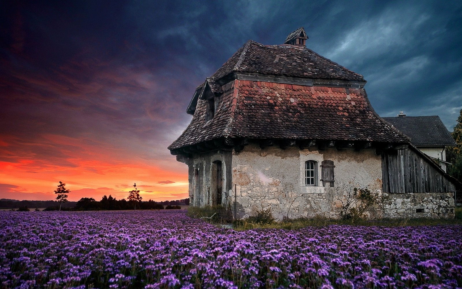 Full Hd Wallpapers Sunsets Landscape Nature Sunset Farm House Old Sky Flowers