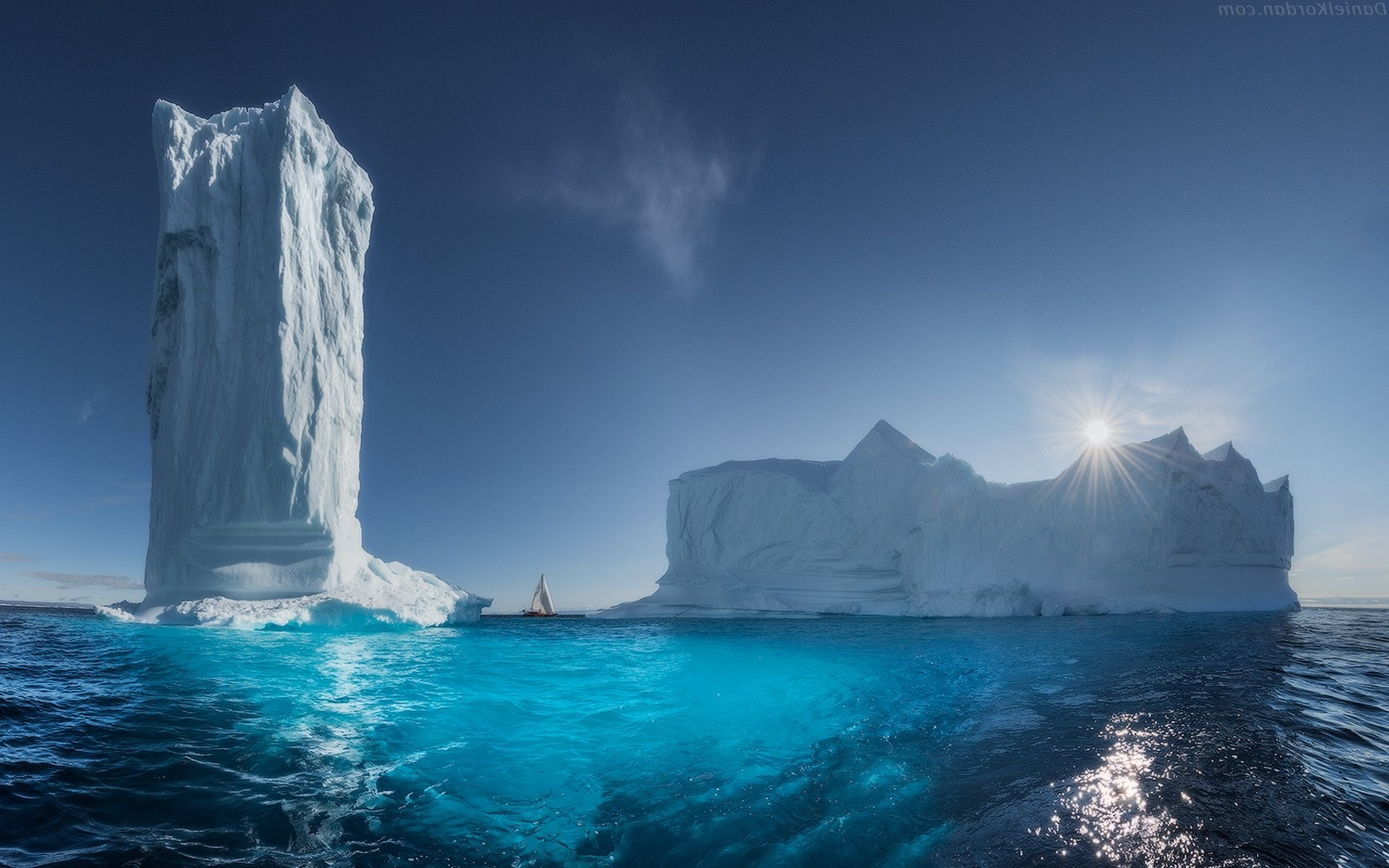 nature, landscape, greenland, ice, sea, sun rays, blue, tower