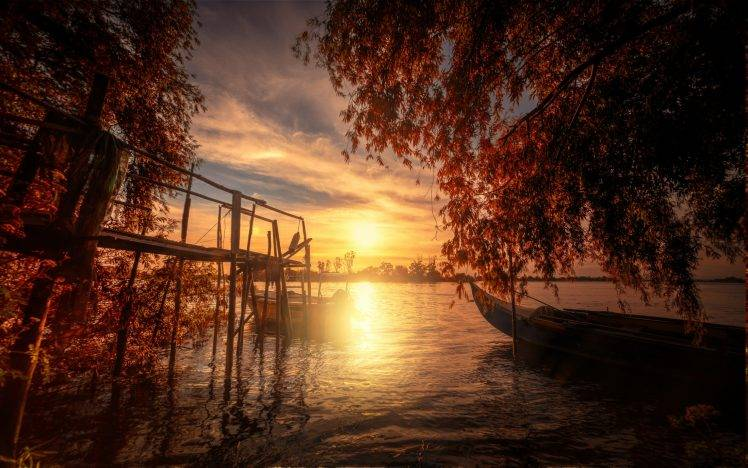 Anime Fall 2015 Wallpaper Nature Landscape Fall Lake Trees Sunset Boat Dock