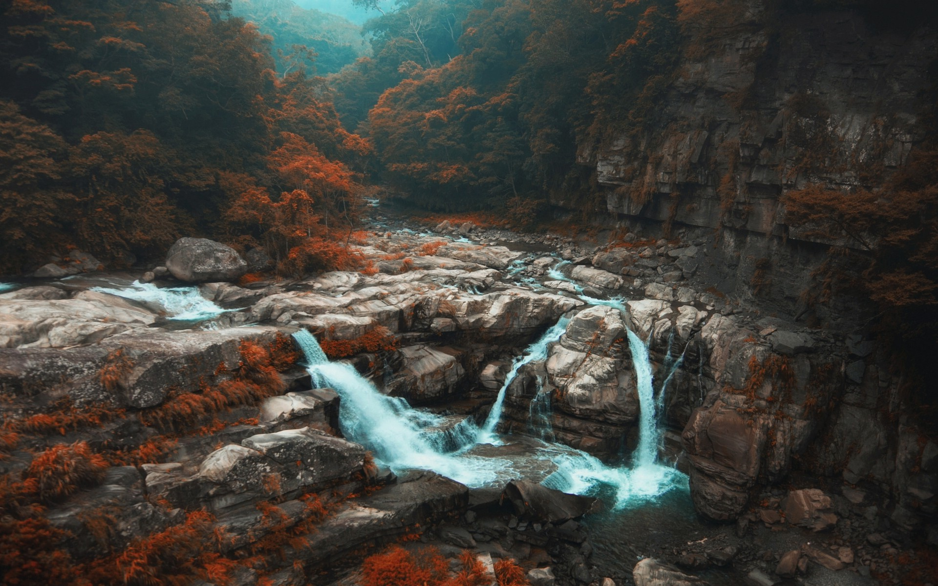 Full Screen Fall Wallpaper Nature Landscape Fall Forest Waterfall Trees River