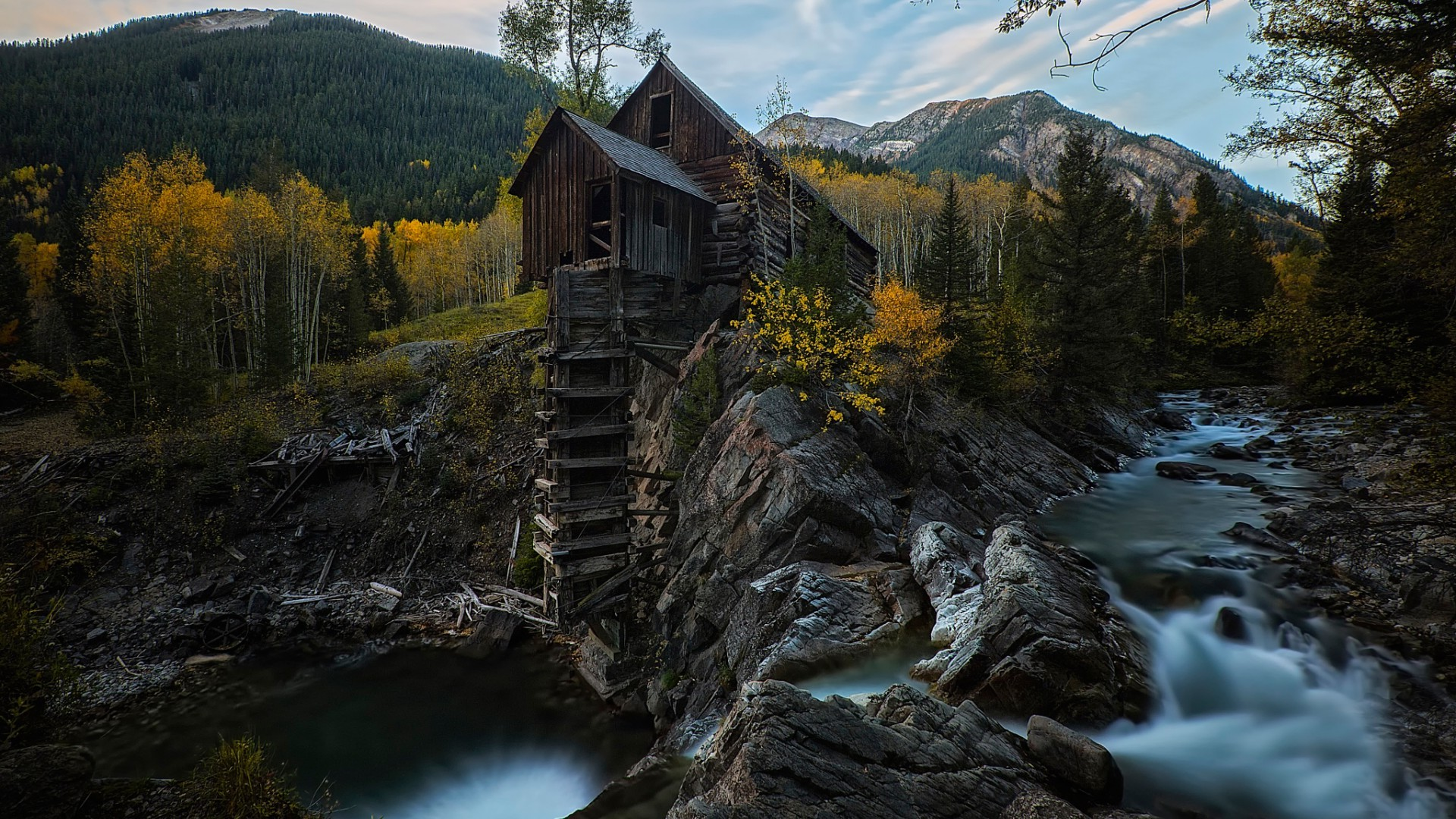 Fall Wooden Wallpaper Nature Landscape Mountain Trees Forest Colorado Usa