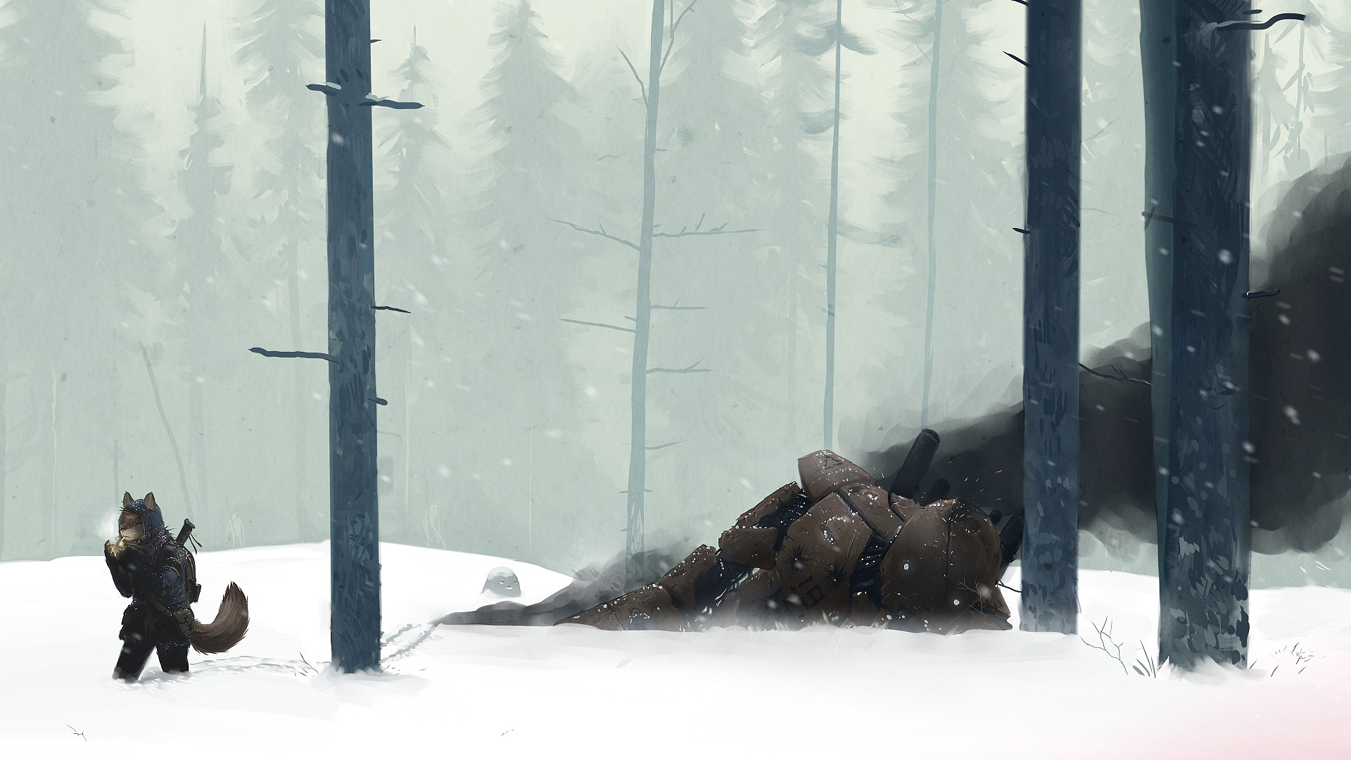Creature 3d Movie Wallpaper Download Snow Mech Creature Wood Forest Winter Anime Furry