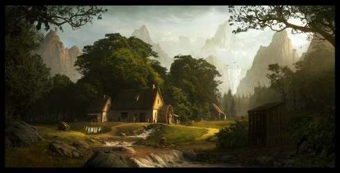 concept fantasy landscape mountain artwork mill background andree wallin hd village nature desktop jungle forest wallpapers tree px sky computer
