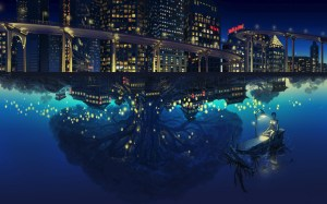 anime night building water trees desktop reflection background wallpapers backgrounds wallup px tags