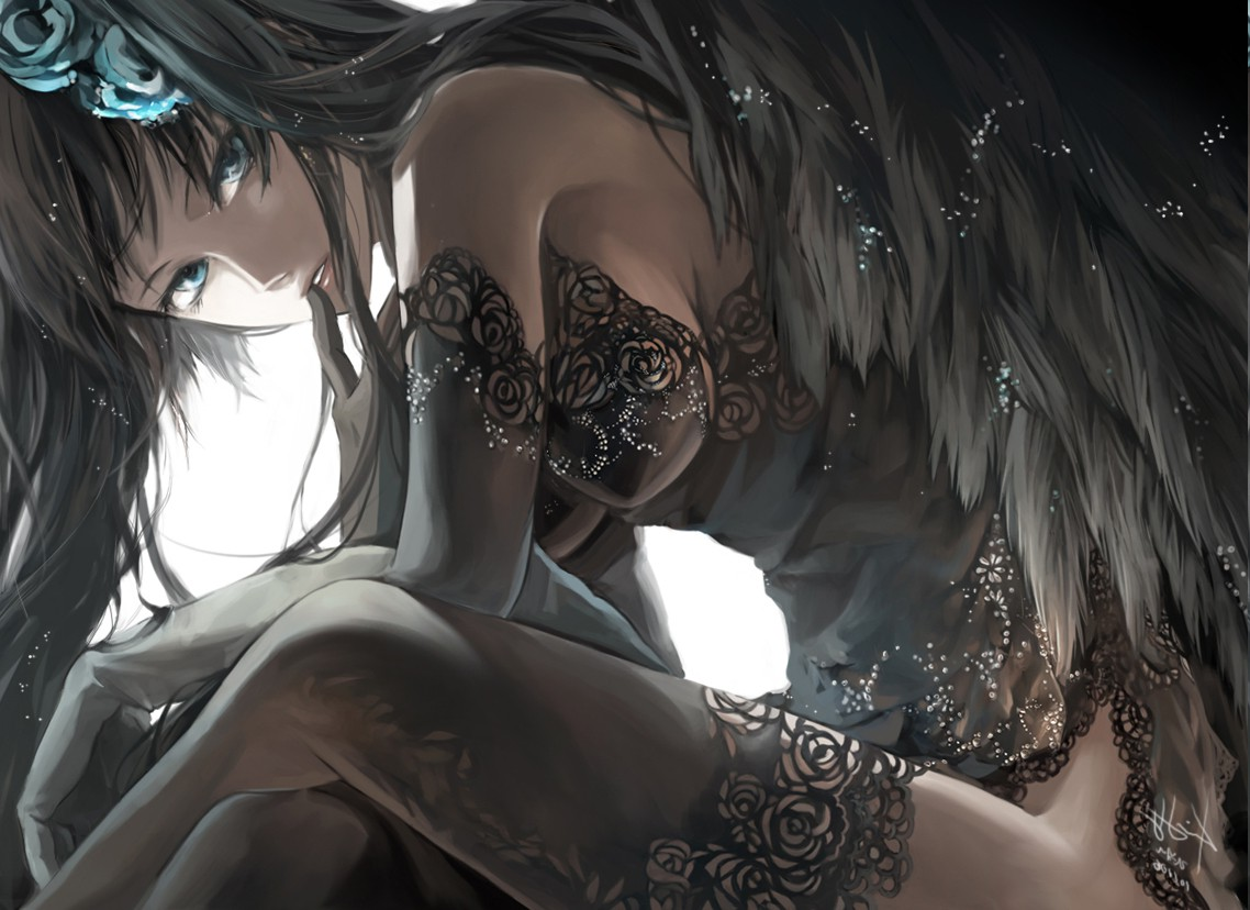 Cute Anime Girl Loli Cute Wallpapers Anime Blue Eyes Long Hair Dark Hair Anime Girls Wings