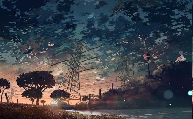 Sunset Anime Power Lines Utility Pole Manga Wallpapers Hd Desktop And Mobile Backgrounds