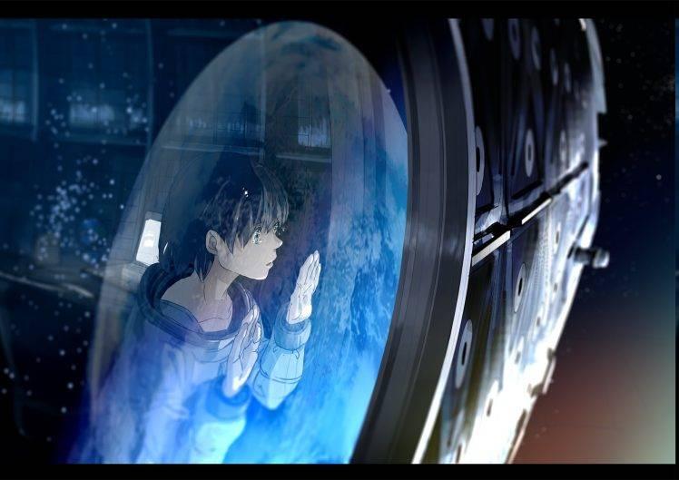 Gamer Girl Wallpaper Anime Landscape Green Eyes Kurono Kuro Space