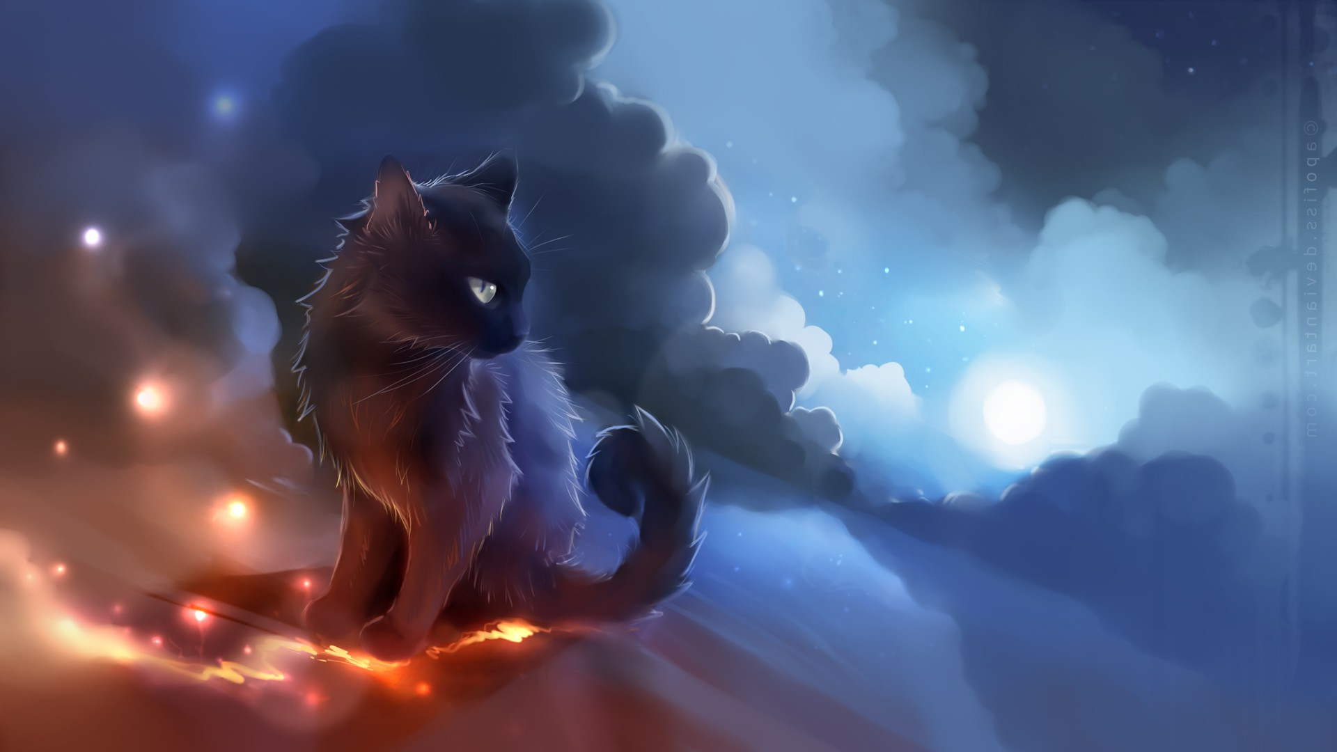 Artwork, Cat, Anime, Glowing, Clouds, Apofiss Wallpapers