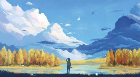 anime mountain landscape forest artwork fantasy clouds background hd scenery desktop 4k backgrounds wallpapers