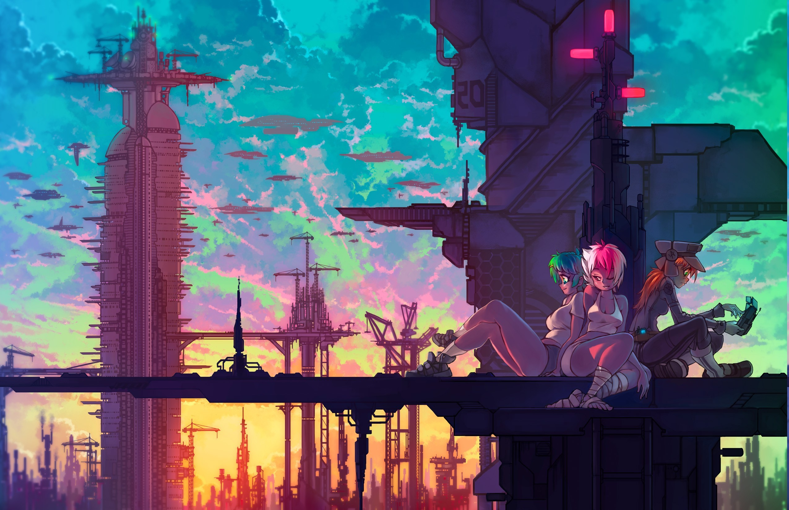 Futurist Anime Girl Wallpaper Anime Girls Anime Fantasy Art Technology Cranes