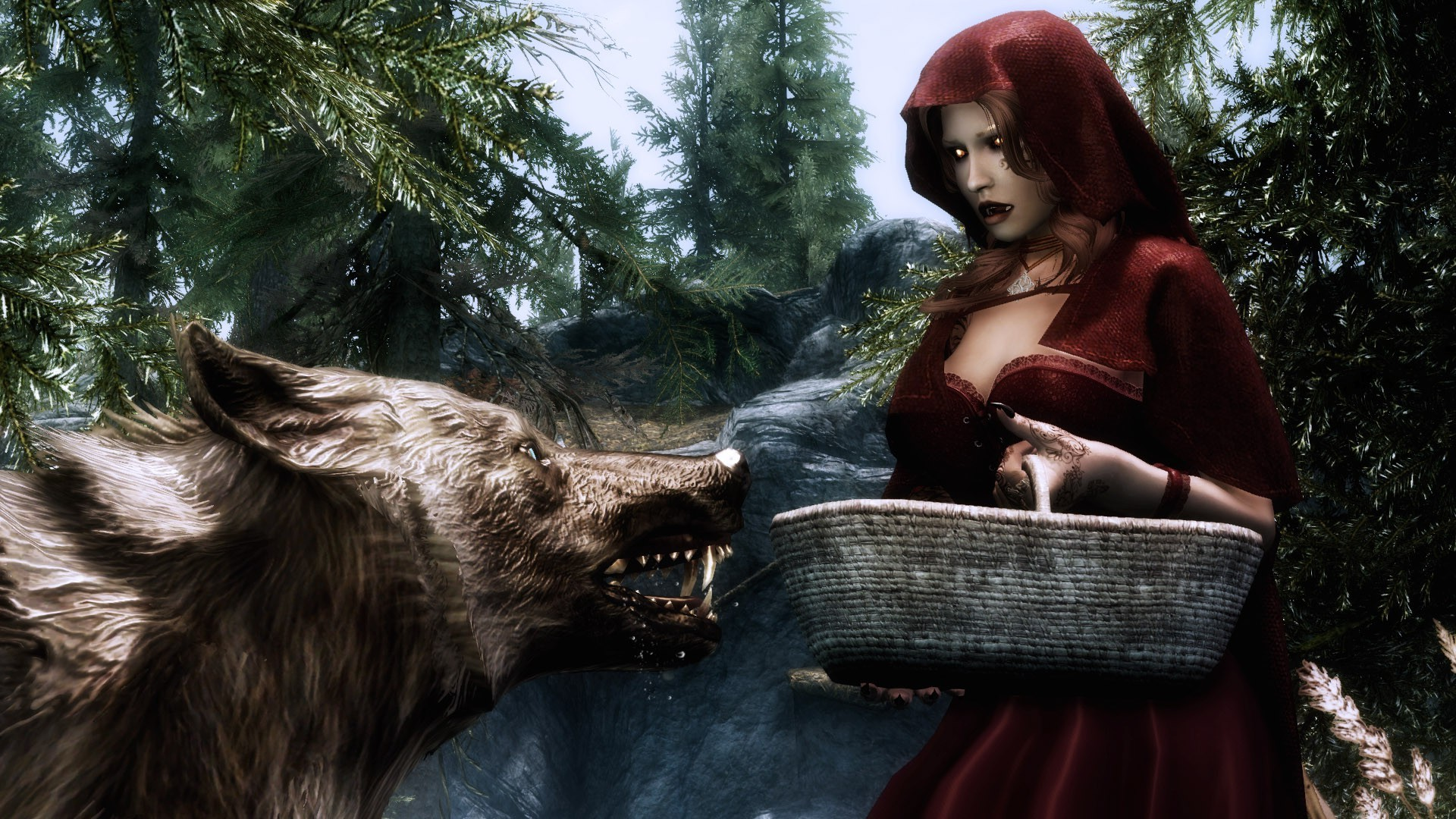 Anime Archer Girl Wallpapers The Elder Scrolls V Skyrim Red Hood Wolf Wallpapers Hd