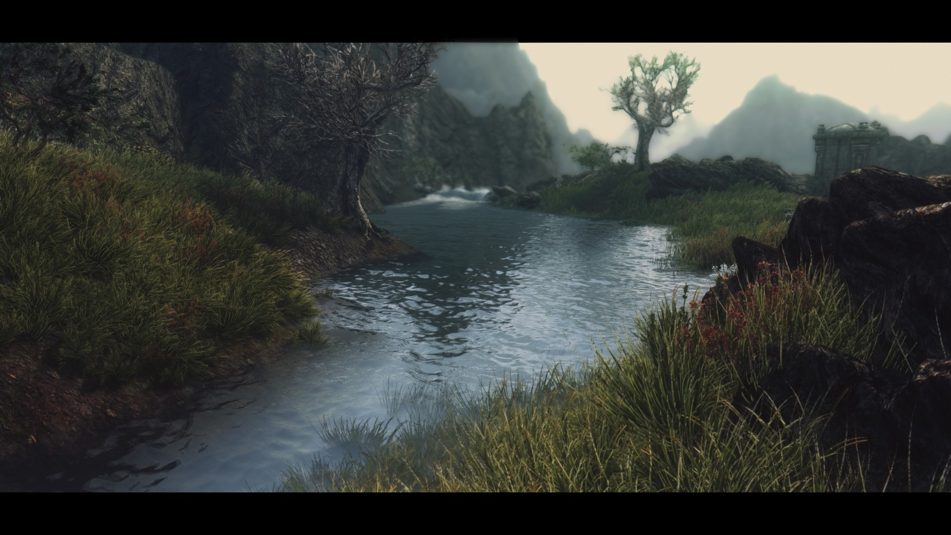 Skyrim Wallpaper Hd 1600x900 The Elder Scrolls V Skyrim Landscape River Wallpapers