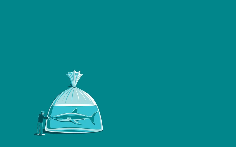 Cute Skeleton Wallpaper Threadless Humor Simple Minimalism Shark Water